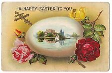 A HAPPY EASTER TO YOU Egg Sailboat Castle Roses Postcard S in Diamond Embossed