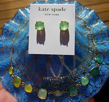 Kate Spade NY 'Crystal Confetti' SHORT Bezel Set Station Necklace EARRINGS BLUE
