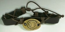 NEW A WORLD OF GOODS EARTH PLANET ENVI STONE BROWN HEMP ADJUSTABLE SIZE BRACELET