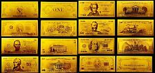 LOTE BILLETES DOLLAR REPLICA ORO GOLD 24K COLECCION COMPLETA!!!
