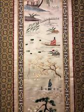 ANTIQUE EARLY 20th c CHINESE EMBROIDERED SILK PANEL FISHERMEN EMBROIDERY #1!