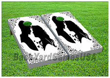 Wedding Silhouette CORNHOLE BEANBAG TOSS GAME w Bags Outdoor Game Boards Set 952