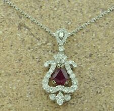2.07 ct  DIAMOND & pear shape RUBY  PENDANT  14k  ONE OF A KIND 18k white gold