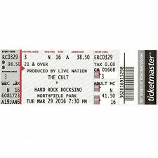 THE CULT & HOLY WHITE HOUNDS Concert Ticket Stub NORTHFIELD OH 3/29/16 ROCKSINO