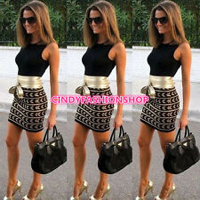Woman Sexy Summer OLBodycon Evening Cocktail Party Sleeveless Floral Mini Dress