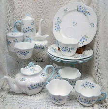 BEAUTIFUL SHELLEY DAINTY SHAPE BLUE ROCK TEA SET FOR 5 EARLY 20TH CENTURY