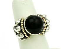 Lagos Caviar Sterling Silver and 18K Gold Ring with Black Onyx Size-7