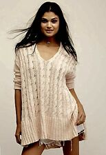 NEW Free People light peach Easy Cable V neck Pullover Sweater Tunic S $128