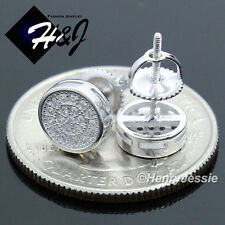 MEN 925 STERLING SILVER 7MM LAB DIAMOND ICED ROUND SCREW BACK STUD EARRING*E108