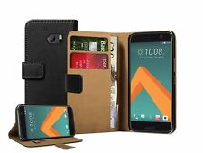Wallet Black Leather Flip Case Cover For HTC 10 + 2 protectors