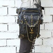 Vintage Punk RocK Gothic Leather Waist Bag Handbag Shoulder Chest Leg Fanny Pack