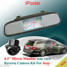 "4.3"" Color LCD Car Rear View Mirror Monitor Backup Reverse Camera Kit For Jeep"
