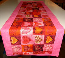 Handcrafted Table Runner 14x42  Valentines Day Hearts Love