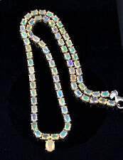 "19.67ct Genuine Ethiopian Opal 925 Solid Sterling Silver Necklace, 18"" Length"