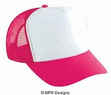 BLANK White Front Hot Pink Mesh Snap Back Cap Trucker Mesh Hat