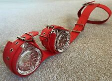 Red Collar TO Wristcuff Restraint Kit, Bondage Fetish Leather Straps Belts