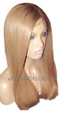 "Remy Human Hair Wig Full Lace 18"" Long Straight Dark Blonde 27 Brown 4 Roots UK"
