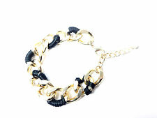 LADIES CHUNKY BLACK GOLD CHAIN BRACELET CONTRAST UNIQUE STUNNING SUMMER (CL5)