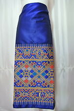 Blue Lao Laos Synthetic Silk Compression Fabric Glue for Women Sinh Skirt GF9