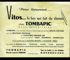 "MONDOUBLEAU & VENDOME (41) SOUS-VETEMENTS VITOS & HAUTE COUTURE ""TOMBAPIC"" Tract"