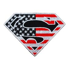 Stars & Stripes Superman Logo Patch Superhero S-Shield Emblem Iron-On Applique