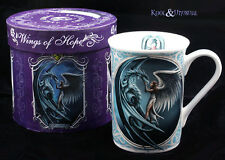 "Anne Stokes Bone China Mug Cup: ""Silverback"" Angel with Blue Dragon"
