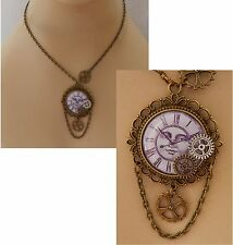 Gold Steampunk Moon Face Pendant Necklace Jewelry Handmade NEW Cosplay Gears