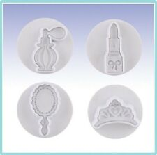 Lady lipstick perfume crown mirror Cookie Fondant Clay Cutter Plunger Molder