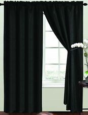 RT Designers Collection Birch Window Curtain Rod Pocket Panel 54 x 90 Inch Black