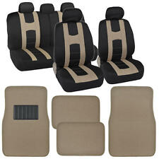 """Seat Cover for Car """"Rome Sport"""" Racing Style Stripes Black/Beige w/ Carpet Mats"""