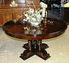 "Antique Style Country French 60"" Round Hardwood Barley Twist Dining Room Table"