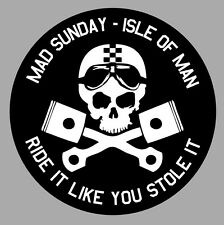 ISLE OF MAN TOURIST TROPHY TT ILE DE MAN BIKER 9cm STICKER RACING TRACK IA090