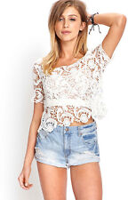 Forever 21 H/M White Lace Crochet Floral Scalloped Short Sleeve Crop Top Size S