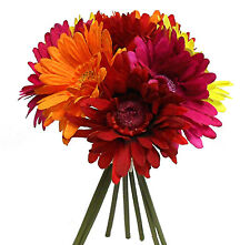 RED ORANGE PINK YELLOW ~ Gerbera Daisies Bridal Bouquet Silk Wedding Flowers NEW