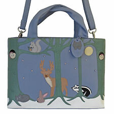 45% OFF CICCIA CAT FOREST FRIENDS BLUE LEATHER GRAB BAG SHOULDER BAG RRP £130