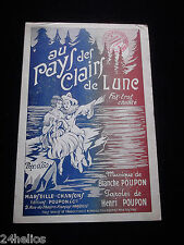 """Fox-Trot 1922 Chanson Partition """"Au Pays des Clairs de Lune"""" H. Poupon Marseille"""