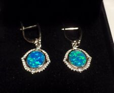 Sterling Silver & Created Opal Leverback Ear Rings