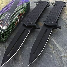 "TWO 8"" SPRING ASSISTED FOLDING STILETTO TACTICAL KNIFE Blade Pocket Open Assist"