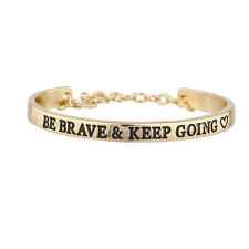 Lux Accessories Goldtone Be Brave and Keep Going Inspirational Bangle Bracelet