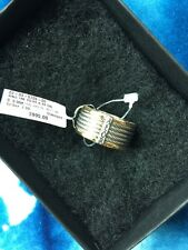NEW ALOR Classique Charriol 18k Yellow Gold & SS Cable Ring Size 7 $995 GORGEOUS