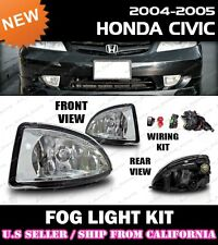 04 05 HONDA CIVIC SEDAN COUPE Fog Light Driving Lamp Kit w/switch wiring (CLEAR)