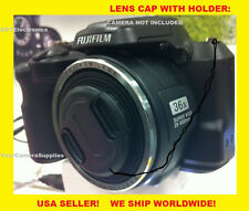 FRONT SNAP-ON LENS CAP  DIRECTLY TO FUJI S8650 FINEPIX FUJIFILM HD + HOLDER