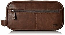 LAST 1!! Levi's Mens Synthetic Leather Toiletry Washbag Travel Kit Bag Brown