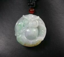 Certified Green 100% Natural A Jade jadeite Pendant Owl Lotus Flower 猫头鹰 407851