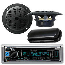 "New KMRD358 Kenwood Marine CD USB iPod iPhone Pandora 4"" Speakers w/Stereo Cover"