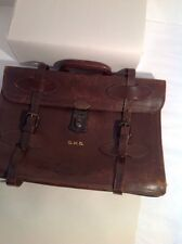 VINTAGE RUGGED LAPTOP  LEATHER BRIEFCASE SATCHEL With Duel Double  STRAP