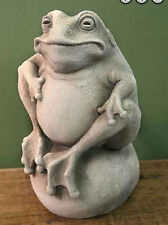 "FROG on the BALL STATUE Cast Stone 8"" Indoor Outdoor GARDEN Sign Toad Welcome"