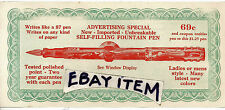 C1925 INK FOUNTAIN PEN advertising coupon AD SPORS Writing Instrument PENMANSHIP