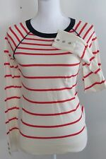 Nautica womens Blue White Red Striped Nautical Long sleeve top Small COTTON