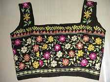 VINTAGE Cotton Mirror work Hand Embroidery Tunic Indian Top Blouse Choli india